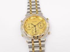 Gucci 9400 Chronograph Champagne Dial Stainless Steel & 18k Gold