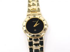 Gucci 3300L Black Dial 18k Gold Plated